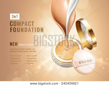 Glamour Compact Foundation Ads. Cosmetic Container With Cushion. Cream Flow And Liquid Texture Isola