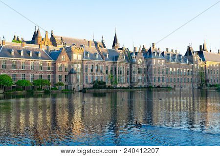 Facade Of Binnenhof - Dutch Parliament With Green Leaves, The Hague, Holland