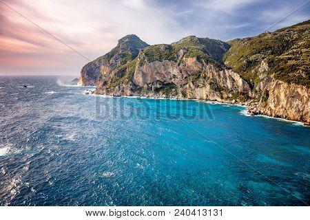 Hdr Image Of The Beautiful Seascape With Rocky Coastline At Paleokastritsa In Corfu, Greece