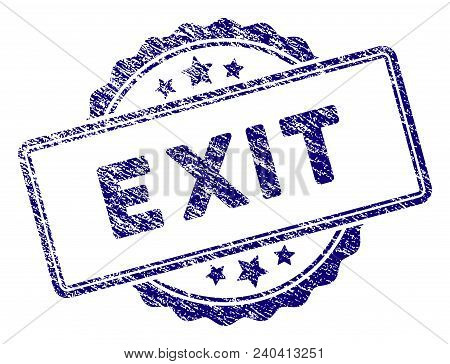 Exit Text Stamp Seal. Vector Element With Grainy Design And Corroded Texture In Blue Color. Designed