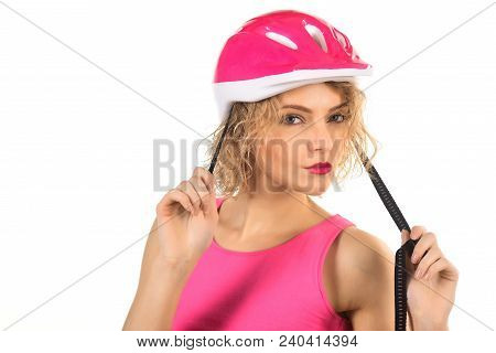 Sport Vacation. Healthy. Sport Attributes. Sportswoman In Protective Helmet. Portrait Of Young Woman