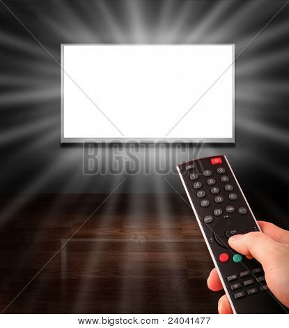 tv remote control towards the television