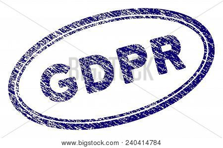 Gdpr Oval Stamp Seal. Vector Element With Grainy Design And Corroded Texture In Blue Color. Designed