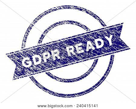 Gdpr Ready Stamp Seal. Vector Element With Grainy Design And Corroded Texture In Blue Color. Designe