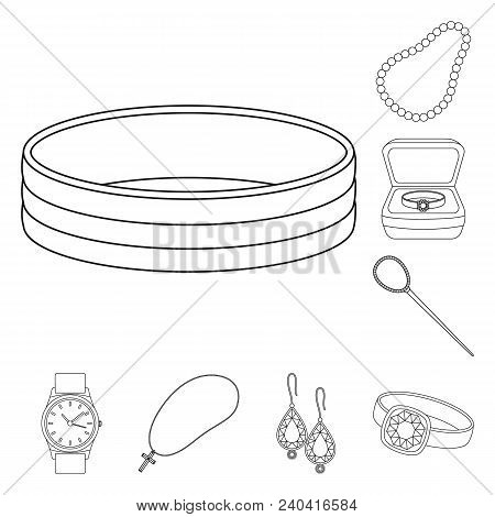Jewelry And Accessories Outline Icons In Set Collection For Design.decoration Vector Symbol Stock  I