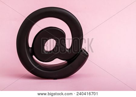 Decorative Black Email Symbol On Pink Background