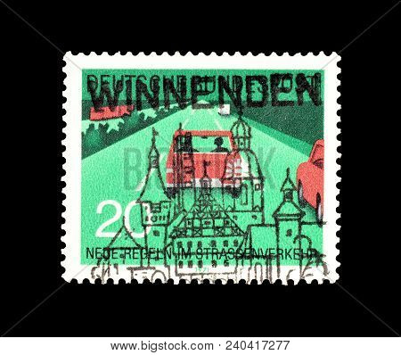 Germany - Circa 1971 : Cancelled Postage Stamp Printed By Germany, That Shows Cars On Highway.