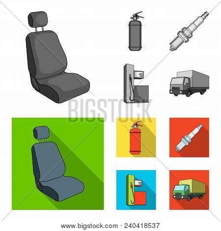 Chair With Headrest, Fire Extinguisher, Car Candle, Petrol Station, Car Set Collection Icons In Mono