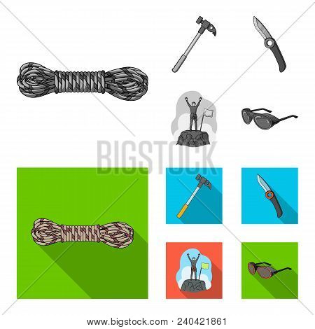 Climber On Conquered Top, Coil Of Rope, Knife, Hammer.mountaineering Set Collection Icons In Monochr