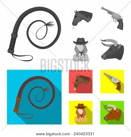 Head Of A Horse, A Bull Head, A Revolver, A Cowboy Girl.rodeo Set Collection Icons In Monochrome, Fl