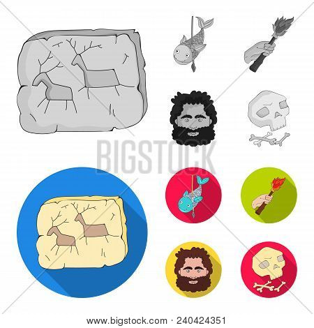 Primitive, Fish, Spear, Torch .stone Age Set Collection Icons In Monochrome, Flat Style Vector Symbo