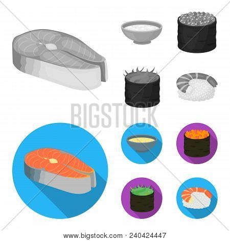 Bowl Of Soup, Caviar, Shrimp With Rice. Sushi Set Collection Icons In Monochrome, Flat Style Vector