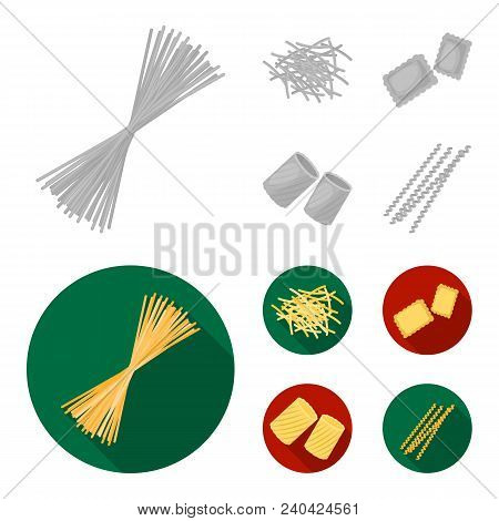Different Types Of Pasta. Types Of Pasta Set Collection Icons In Monochrome, Flat Style Vector Symbo
