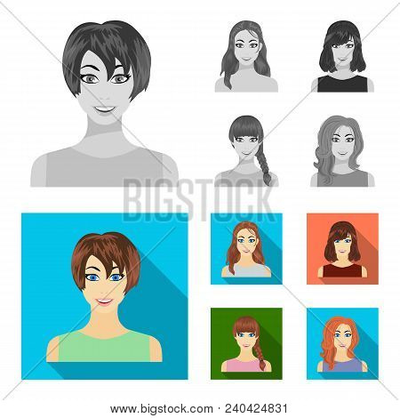 Types Of Female Hairstyles Monochrome, Flat Icons In Set Collection For Design. Appearance Of A Woma
