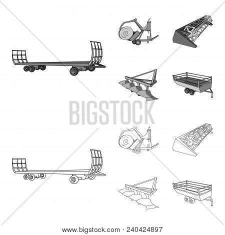 Plow, Combine Thresher, Trailer And Other Agricultural Devices. Agricultural Machinery Set Collectio
