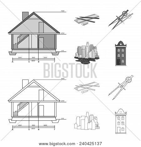 Drawing Accessories, Metropolis, House Model. Architecture Set Collection Icons In Outline, Monochro