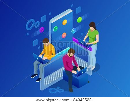 Isometric Mobile Applications Concept. Developing Programming And Coding Technologies Concept. Ux Ui