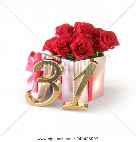 Birthday Concept With Red Roses In Gift Isolated On White Background. 3d Render - Thirty-first Birth
