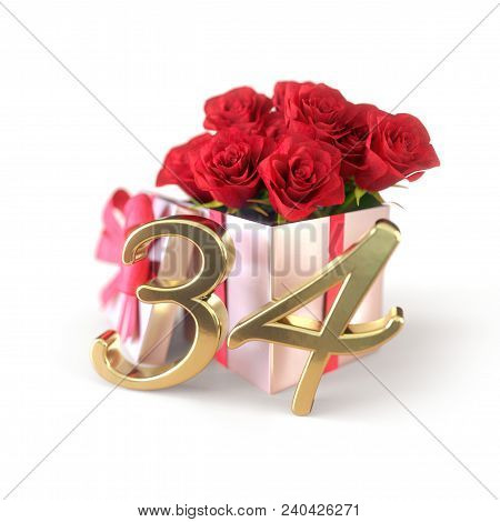 Birthday Concept With Red Roses In Gift Isolated On White Background. 3d Render - Thirty-fourth Birt