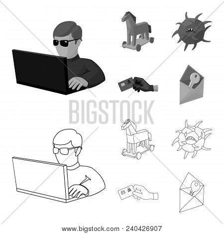 Hacker, Hacking, System, Internet .hackers And Hacking Set Collection Icons In Outline, Monochrome S