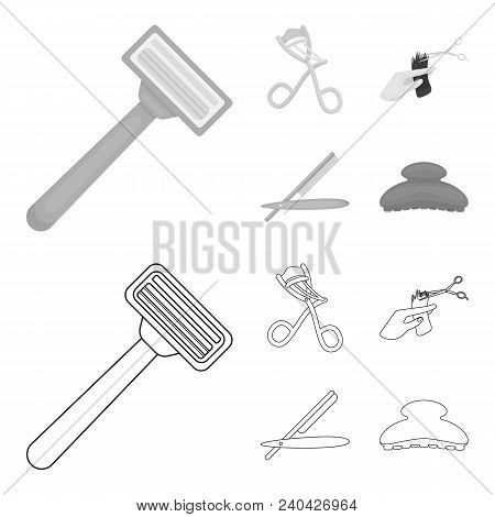 Scissors, Brush, Razor And Other Equipment. Hairdresser Set Collection Icons In Outline, Monochrome