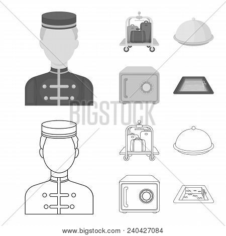 Trolley With Luggage, Safe, Swimming Pool, Clutch.hotel Set Collection Icons In Outline, Monochrome
