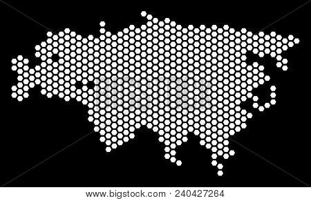 Honeycomb Eurasia Map. Vector Geographic Scheme On A Black Background. Abstract Eurasia Map Collage