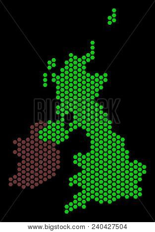 Hexagonal Great Britain And Ireland Map. Vector Geographic Plan On A Black Background. Abstract Grea