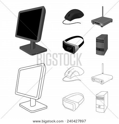 Monitor, Mouse And Other Equipment. Personal Computer Set Collection Icons In Outline, Monochrome St
