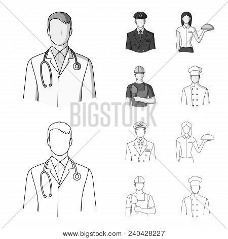 The Doctor, The Pilot, The Waitress, The Builder, The Mason.profession Set Collection Icons In Outli