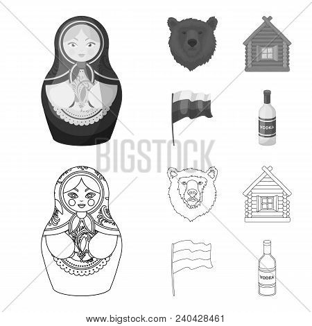 Russia, Country, Nation, Matryoshka .russia Country Set Collection Icons In Outline, Monochrome Styl
