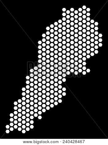 Honeycomb Lebanon Map. Vector Territorial Plan On A Black Background. Abstract Lebanon Map Compositi
