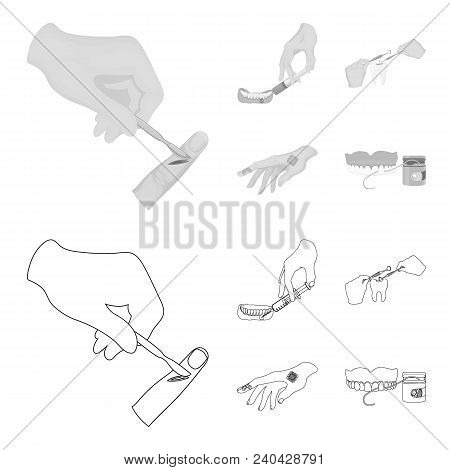 Anesthetic injection, dental instrument, hand manipulation, tooth cleaning and other  icon in outline, monochrome style. bactericidal plaster, medicine icons in set collection. poster