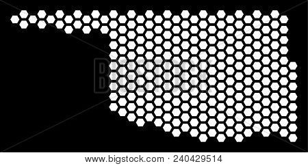 Hexagonal Oklahoma State Map. Vector Territorial Plan On A Black Background. Abstract Oklahoma State