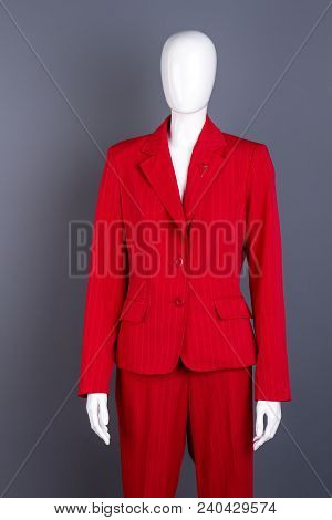 Mannequin In Female Red Formal Style Suit. Female Classic Office Garment. Ladies Classy Outfit.