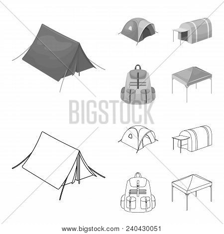 Backpack And Other Kinds Of Tents.tent Set Collection Icons In Outline, Monochrome Style Vector Symb
