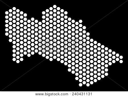 Hex Tile Turkmenistan Map. Vector Territorial Plan On A Black Background. Abstract Turkmenistan Map