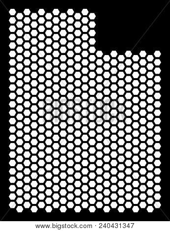 Hex Tile Utah State Map. Vector Territory Scheme On A Black Background. Abstract Utah State Map Mosa