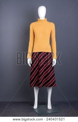 Sweater And Skirt On Mannequin. Female Mannequin Clothed In Yellow Turtleneck Pullover And Striped S