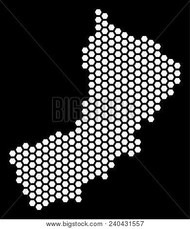 Hexagonal Yemen Map. Vector Geographic Scheme On A Black Background. Abstract Yemen Map Concept Is C