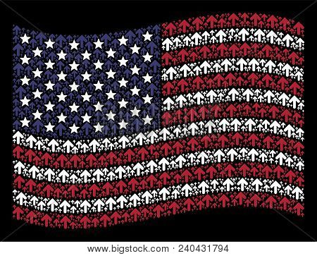 Arrow Direction Icons Are Combined Into Waving Usa Flag Stylization On A Dark Background. Vector Com