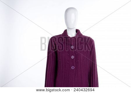 Fashionable Knitted Sweater For Women. Female Mannequin Dressed In Warm Wool Sweater, White Backgrou