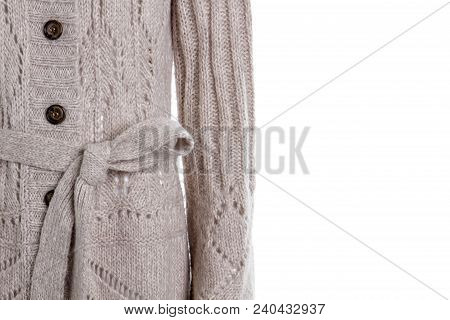 Female Grey Knitted Cardigan With Belt. Close Up Women Casual Woolen Sweater, Copy Space. Women Garm