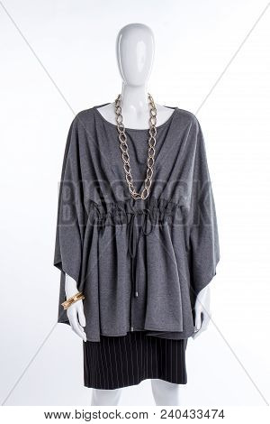 Grey Fashionable Blouse And Black Skirt. Female Mannequin Dressed In Stylish Cotton Tunic And Skirt.