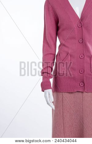 Mannequin In Pink Garment, Copy Space. Women Pink Soft Cardigan. Ladies Brand Clothes On Sale.