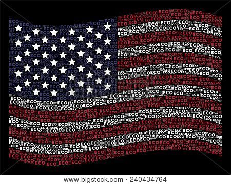 Eco Text Symbols Are Grouped Into Waving United States Flag Stylization On A Dark Background. Vector