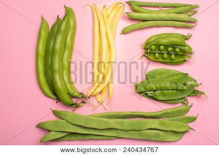 Flat Lay Food Concept With Fresh Legumes,  Green Ripe Bread Beans, Garden Beans, Sugar Snaps, Sweet