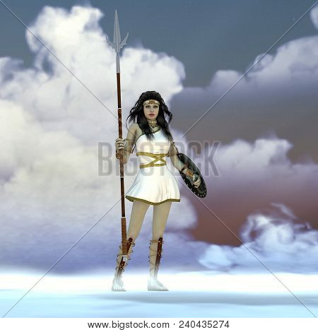 Athena Greek Goddess 3d Illustration - Athena Was The Daughter Of The Greek God Zeus And Admired Wis