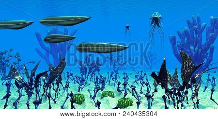 Cambrian Seas 3d Illustration - Four Pikaia Predatory Arthropods Search For Prey In The Clear Waters