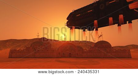 Colony On Mars 3d Illustration - A Vehicle Lander Transports Visitors To A Colony On The Planet Mars